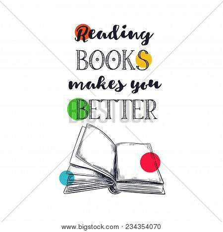 Books Vector Poster. Pile Of Books. Hand Drawn Illustration In Sketch Style. Library, Books Shop Con