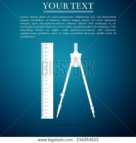 Ruler And Drawing Compass Icon Isolated On Blue Background. Drawing Professional Instrument. Geometr
