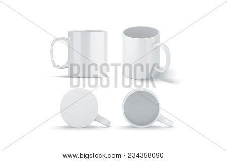 Blank White Glass Mug Mockups Set Isolated, 3d Rendering. Clear Left Right Coffee Cup Mock Up For Su