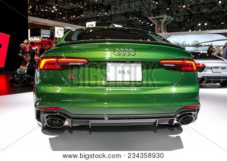 NEW YORK CITY-MARCH 28: 2018 Audi RS 5 shown at the New York International Auto Show 2018, at the Jacob Javits Center. This was Press Preview Day One of NYIAS, on March 28, 2018.