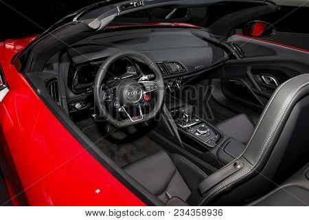 NEW YORK CITY-MARCH 28: 2018 Audi R8 V10 plus shown at the New York International Auto Show 2018, at the Jacob Javits Center. This was Press Preview Day One of NYIAS, on March 28, 2018.