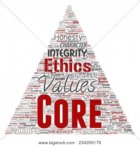 Conceptual core values integrity ethics triangle arrow concept word cloud isolated background. Collage of honesty quality trust, statement, character, perseverance, respect and trustworthy
