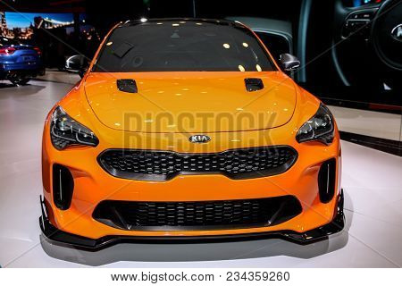 NEW YORK CITY-MARCH 28: KIA Stinger shown at the New York International Auto Show 2018, at the Jacob Javits Center. This was Press Preview Day One of NYIAS, on March 28, 2018.