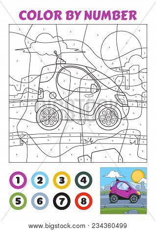 Color By Number Is An Educational Game For Children. Violet Tiny Car. Vector Eps10