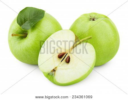 Group Of Ripe Green Apple Fruits With Apple Half And Green Apple Leaf Isolated On White Background.