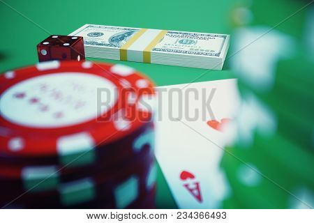 3d Illustration Casino Game. Chips, Playing Cards For Poker. Poker Chips, Red Dice And Money On Gree