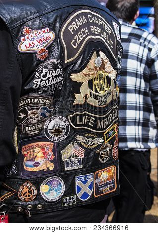 Podebrady, Czech Republic - March 31, 2018: Embroidery On The Back Of A Biker Jacket In A Gathering