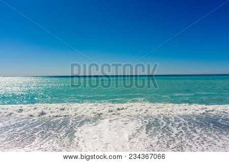 Sea View. Horizon Of The Sea. Sea Coast Line. Landscape From The Sea. Photo Stock.