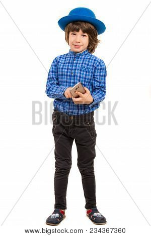 Little Elegant Businessman With Hat Holding Smartphone Isolated On White Background