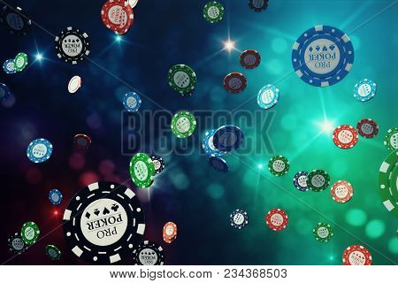 3d Illustration Falling Casino Chips With Shiny Background. Casino Concept, Poker Chips.