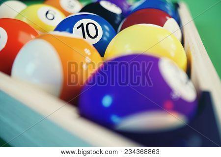 3d Illustration Recreation Sport. Billiards Balls With On Green Billiards Table. Billiard Sport Conc
