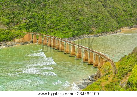 Aerial View Of Kaaimans River Railway Bridge From Popular Dolphin Point Lookout On The Garden Route