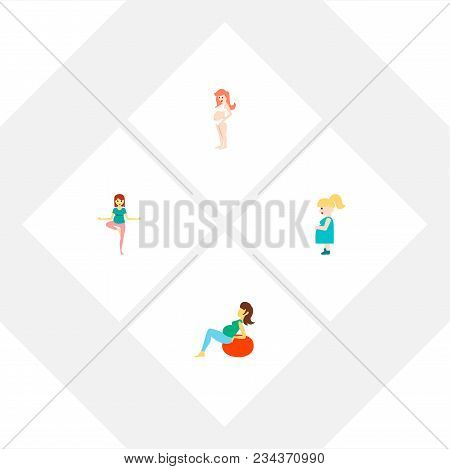 Icon Flat Pregnant Set Of Mother, Fitness, Sport And Other  Objects. Also Includes Pregnant, Woman,