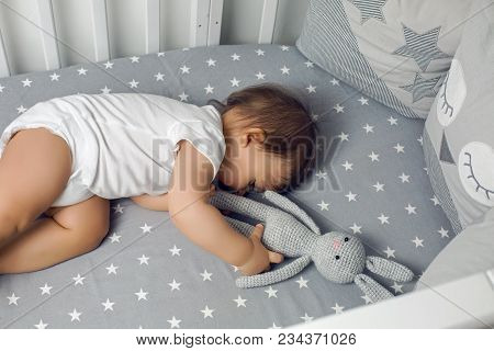 One Year Old Baby Boy Lying In A Round Bed With A Knitted Rabbit Toy And Sleeping