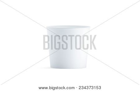 Blank White Food Bucket Mockup Isolated, 3d Rendering. Empty Pail Fastfood Front Side View. Paper Ch