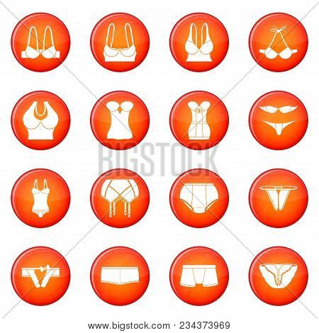 Underwear Icons Set Vector Red Circle Isolated On White Background