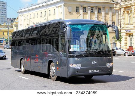 Moscow, Russia - June 2, 2013: Touristic Coach Bus Higer Klq6119tq In The City Street.