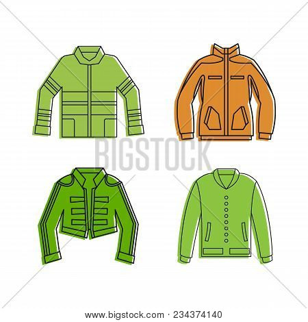 Jacket Icon Set. Color Outline Set Of Jacket Vector Icons For Web Design Isolated On White Backgroun