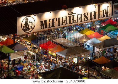 Bangkok, Thailand - 18 February 2018 : Colorful Food Stalls At