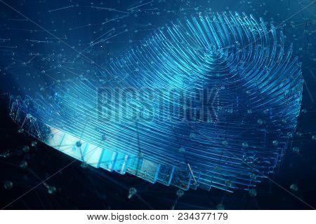 3d Illustration Fingerprint Scan Provides Security Access With Biometrics Identification. Concept Fi