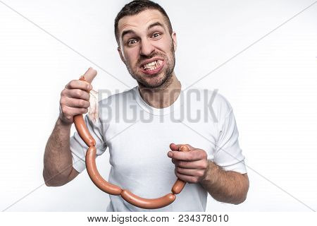 The Real Man Could Not Be Real Without The Love Of Eating Meat. This Guy Likes To Eat Sausages. He H