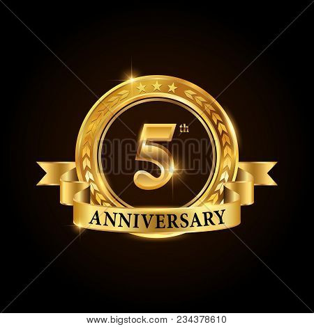 5 Years Anniversary Celebration Logotype. Golden Anniversary Emblem With Ribbon. Design For Booklet,