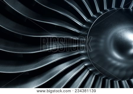 3d Rendering Jet Engine, Close-up View Jet Engine Blades. Blue Tint