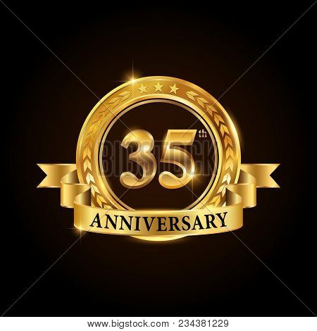 35 Years Anniversary Celebration Logotype. Golden Anniversary Emblem With Ribbon. Design For Booklet