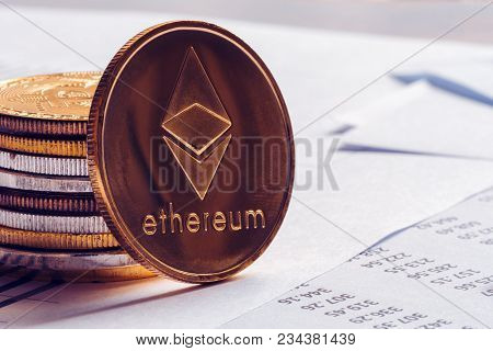 Ethereum Cryptocurrency Coinage On Office Desk, Selective Focus