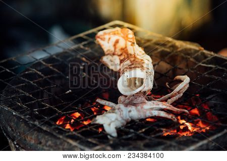Grilled Squid Or Octopus At Thai Seafood Market