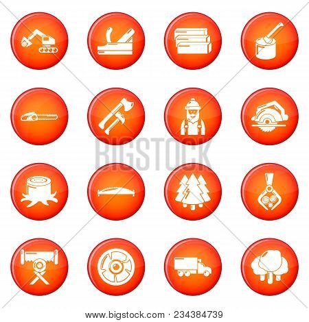 Timber Industry Icons Set Vector Red Circle Isolated On White Background