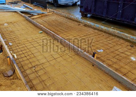Installation Of Formwork For Sidewalk Road Railing Anchor Plate And Reinforcement