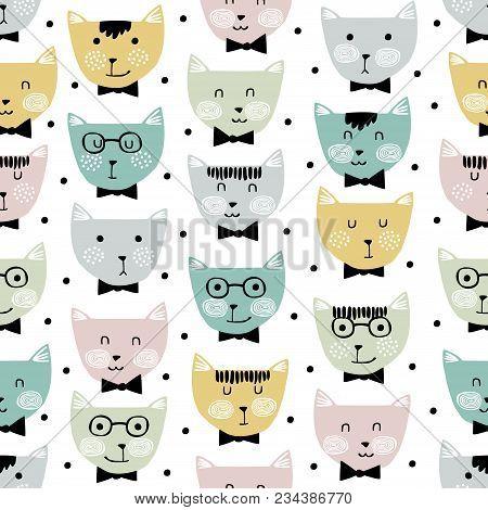 Vector Seamless Pattern With Cute Cats. Childish Seamless Pattern With Adorable Cat Faces On Isolate