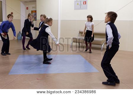 ST. PETERSBURG, RUSSIA - OCTOBER 16, 2017: Children during school break in primary school of the physics and mathematics lyceum 366. This year lyceum celebrates its 70th anniversary