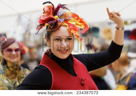 SAINT-PETERSBURG, RUSSIA - MARCH 22, 2018: Hats fashion show of the exhibition Craft Bazaar during TeddyFun 2018. The exhibition is held seasonally since 2011