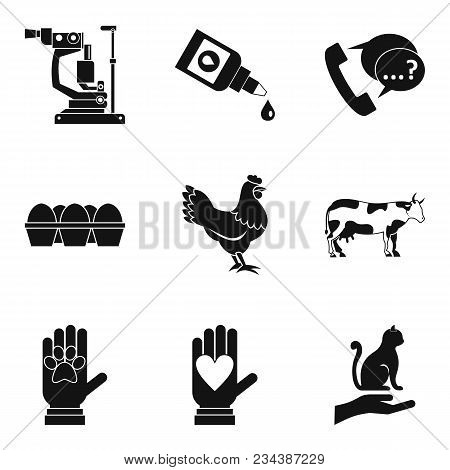 Ill Animal Icons Set. Simple Set Of 9 Ill Animal Vector Icons For Web Isolated On White Background