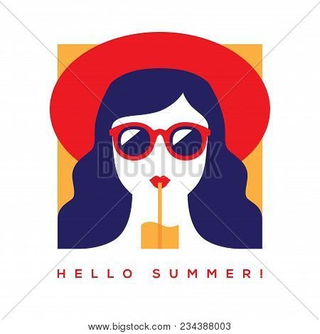 Hello Summer Card, Banner Or Poster Design With Girl In Red Summer Hat And Sunglasses Drinking Cockt