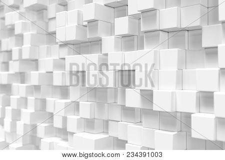 White Geometric Cube, Cubical, Boxes, Squares Form Abstract Background. Abstract White Blocks. Templ
