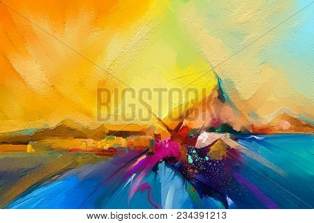 Colorful Oil Painting On Canvas Texture. Semi- Abstract Image Of Seascape Paintings With Sunlight Ba