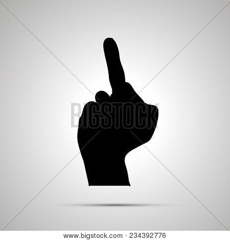 Black Silhouette Of Hand In Middle Finger Gesture Isolated On White