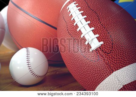 3d Rendering Sport Balls On Wooden Backgorund. Set Of Sport Balls. Sport Equipment Such Us Football,