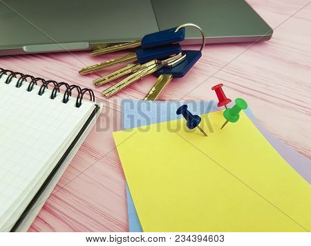 pushpin notepad keys office stationery, writing, laptop, pink wooden, colored paper, keys poster