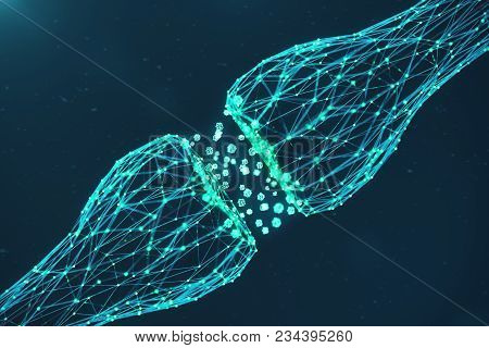 3d Rendering Blue Glowing Synapse. Artificial Neuron In Concept Of Artificial Intelligence. Synaptic