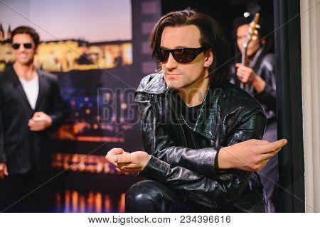 Prague, Czech Republic - May 2017: Wax Statue Of Musician, Soloist Of The Group U2 Bono In A Wax Sta