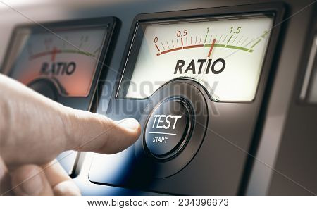 Man Pushing An Acid Test Button To Measure Financial Liabilities Of A Company Or Organization. Compo