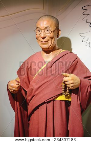 Prague, Czech Republic - May 2017: Wax Statue Of The Dalai Lama Monument In The Wax Statue Museum In