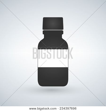 Pills Bottle Icon With Space To Write. Modern Pill Bottle For Pills Or Capsules. Flat Style Vector I