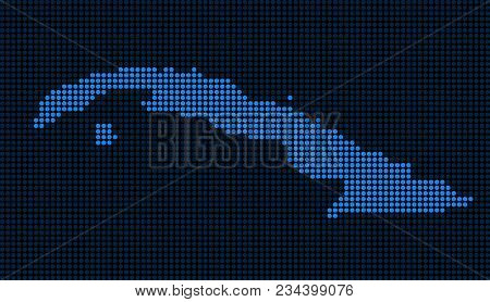 Dotted Pixel Cuba Map. Vector Geographic Map In Blue Colors. Vector Concept Of Cuba Map Done Of Circ