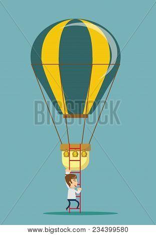 Man Climb A Ladder To A Air Balloon. Stock Flat Vector Illustration.