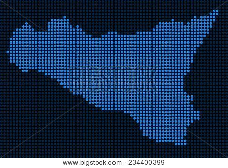 Dotted Pixel Sicilia Map. Vector Geographic Map In Blue Colors. Vector Composition Of Sicilia Map Ma
